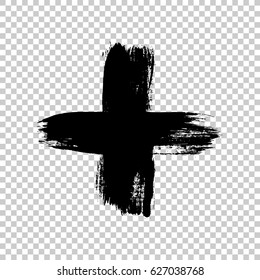 Hand drawn cross. Grunge cross. Cross made with brush stroke on isolated background