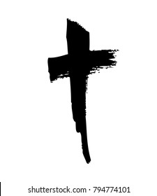 Hand drawn cross. Vector cross. The cross is made with a brush
