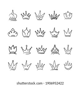 Hand drawn Crown vector collection. Doodle crowns vector illustration set. Royal head, King crown, Queen crown with various design.