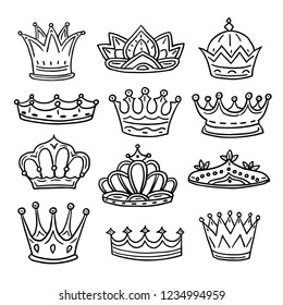 Hand drawn crowns. King, queen doodle crown and princess tiara. Vintage royal sketch isolated vector icons