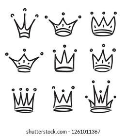 Hand drawn crowns logo set isolated on white background for queen icon, princess diadem symbol, doodle illustration, pop art element, beauty and fashion shopping concept. Crown icon. vector 10 eps