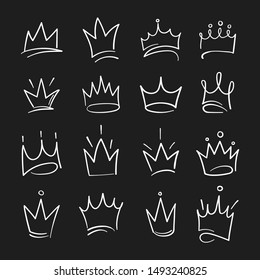 Hand drawn crowns logo set for queen icon, princess diadem symbol, doodle illustration, pop art element, beauty and fashion shopping concept.