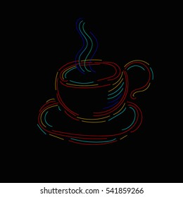 Hand drawn cup of coffee.Vector illustration.