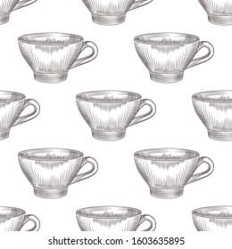 Hand drawn cup of tea seamless pattern on white background. Engraving vintage style.  Vector illustration