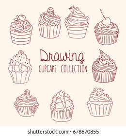 Hand Drawn Cupcake Collection - vector illustration, eps 10