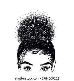 Hand drawn curly hairstyle- hair bun of a beautiful girl and baby hairs. Glam eye look with full natural eyebrow and luxe eyelashes. Salon logo template for broshures, card