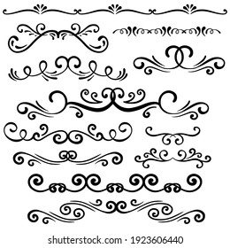 Hand drawn curly ornamental dividers. Callighraphy card poster wedding engagement menu  ornamental decorative elements. Isolated graphic vector object set.