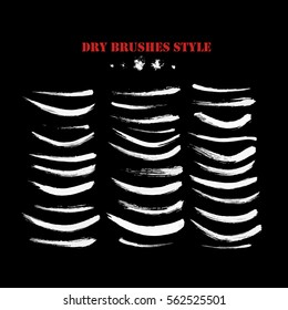 Hand drawn curved brushstrokes created by dry brush. Grunge style set. Vector clip art elements for expressive design.