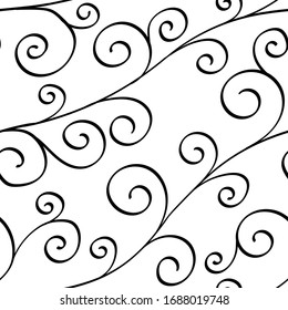hand drawn curves and swirls. abstract seamless pattern. sophisticated background