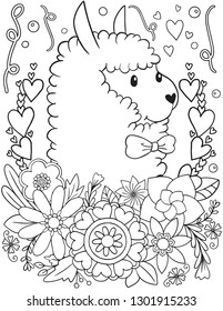 Hand drawn Cute Alpaca with flowers element vector doodle. Black and white lines