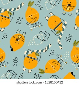 Hand drawn cute anthropomorphic lemons doing various stuff. Funny vector illustration for kids. Colored trendy seamless pattern. Cartoon style. Perfect for lemonade market decoration