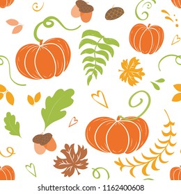 Hand drawn cute autumn background. Seamless pattern of falling colorful maple leaves pumpkin oak acorn white background Design for packaging, textiles, poster banner wallpaper Fall vector illustration