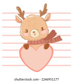 Hand Drawn Cute Baby deer holding a heart on a striped background vector illustration. Postcard for Valentine's day.  Children's design print.
