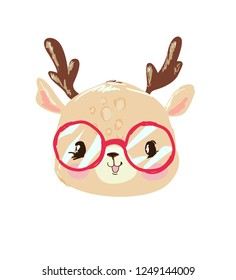 Hand Drawn cute baby deer with red glasses. Friendly cartoon character. Childish vector illustration.