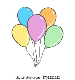 Hand Drawn cute balloons isolated on white background. Template for postcard, banner, poster, web design. Doodle vector illustration.