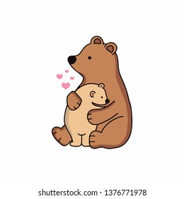 Hand drawn cute bear and her baby .