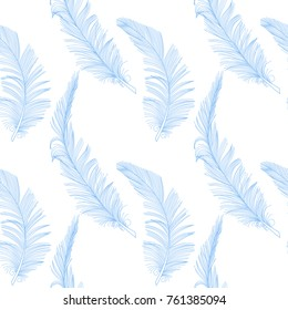Hand drawn cute blue feather on white seamless pattern. Background, wrap, cover, fabric, decoration.