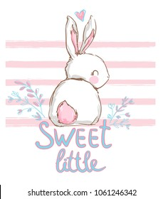 Hand Drawn Cute Bunny, beautiful children's print for girl, Vector Illustration