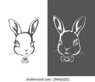 Hand drawn cute bunny boy and girl portraits. Vintage vector illustration