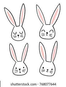 Hand drawn cute bunny faces with different emotions and expressions. Doodle rabbit illustration.