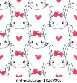 Hand Drawn Cute Bunny and Heart Pattern, print design rabbit background, children print textile design