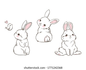 Hand Drawn Cute Bunny isolated on white background. Print design rabbit. Children Print on t-shirt. Vector