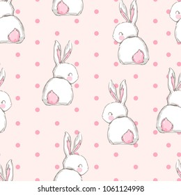 Hand Drawn Cute Bunny Pattern, print design rabbit background, children print textile design