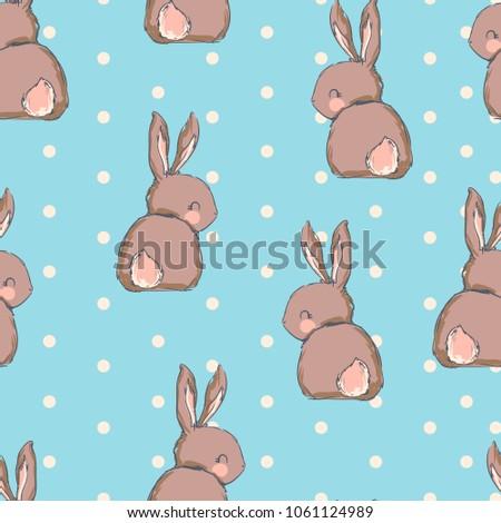 Hand Drawn Cute Bunny Pattern Print Stock Vektorgrafik Lizenzfrei