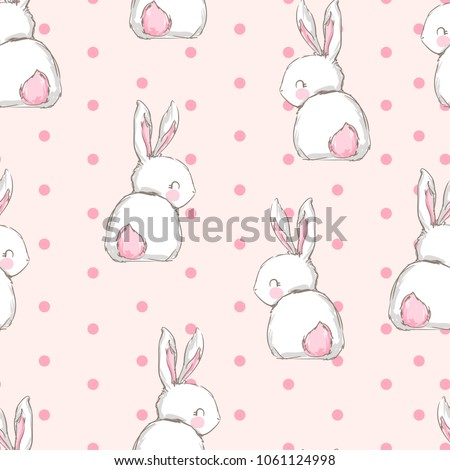 Hand Drawn Cute Bunny Pattern Print Stock Vector Royalty Free Best Bunny Pattern