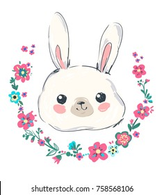 Hand Drawn Cute Bunny, rabbit and flowers