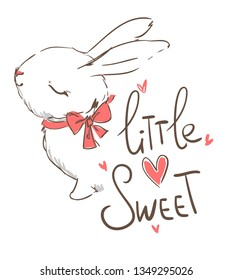 Hand drawn cute bunny. Vector illustration