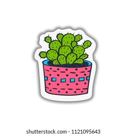 Hand drawn cute cactuses collection. Vector illustration. Bright funny decor sticker. Botanical illustration.