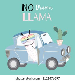Hand drawn cute card with llama,glasses,car,cactus in summer.Llama not drama