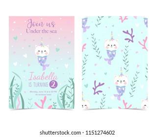 Hand drawn cute card with mermaid,caticorn,squid,coral and sea horse