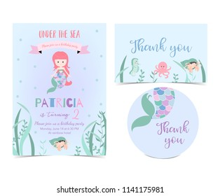 Hand drawn cute card with mermaid,squid,coral,ribbon and sea horse.Thank you