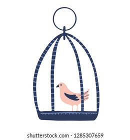 Hand drawn cute cartoon birdcage with tiny bird. Hand Drawn vector illustration motif element. Trendy kawaii hanging song birdies for modern clipart.