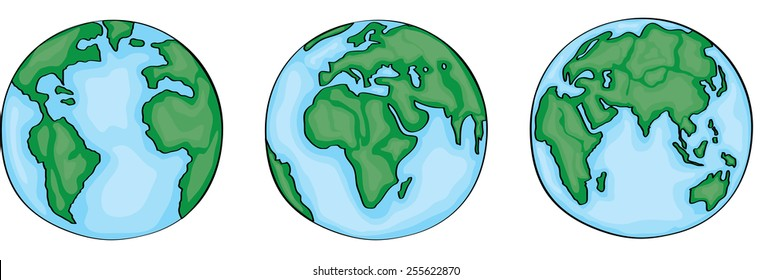 Hand drawn cute cartoon earth. Vector