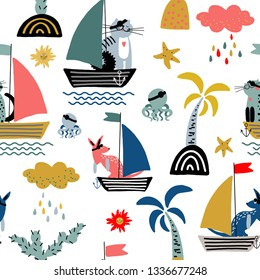 Hand drawn cute cartoon vector seamless pattern illustration cat and kangaroo pirate on the boat, palm tree, starfish, jellyfish and sun for baby textile, cloth, linen texture