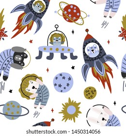 Hand drawn cute cartoon vector illustration animals, rocket, planet in the space on the white background for baby textile, cloth, linen, wallpaper texture or decoration