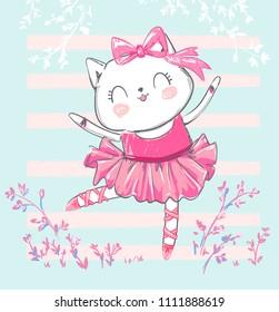 Hand Drawn Cute Cat, ballerina illustration, children print on t-shirt.