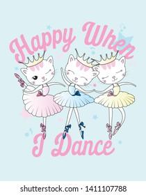 Hand drawn cute cat dancing illustration for t shirt printing