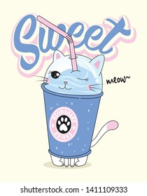Hand drawn cute cat drinks illustration for t shirt printing