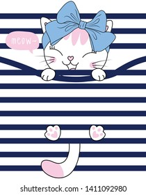 Hand drawn cute cat illustration for t shirt printing