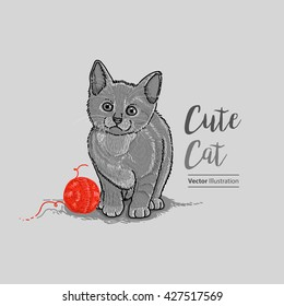 Hand Drawn Cute Cat. Vector Eps. 10