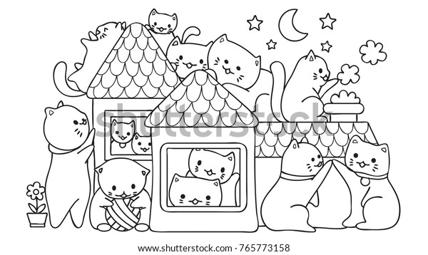 Hand Drawn Cute Cats Playing House Stock Vector Royalty