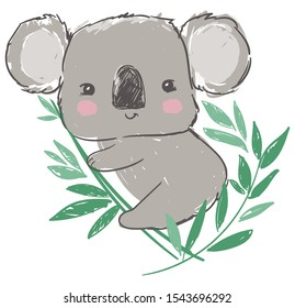 Hand drawn cute childish illustration koala and green leaves. Print design.