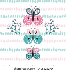 Hand drawn cute and colorful vector illustration with butterflies , leaves and flowers. Sweet baby and nursery girly print for t-shirts , stationery and product deisgn