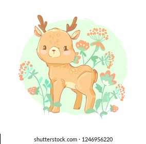 Hand Drawn cute deer in flowers. Vector illustration. Design prints for children's clothing.