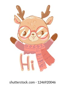 Hand drawn cute deer with glasses sweater and scarf isolated on a white background with the phrase - Hi. Vector t-shirt graphic design for kids.