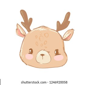 Hand drawn cute deer isolated on white background. Childish illustration. Idea print design for kids t-shirt and clothes. Cartoon animal style. Woodland vector.
